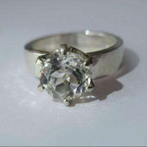 Custom made White topaz ring in sterling silver